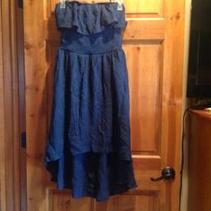 Cute strapless high low dress In new condition. Cute with a jean jacket. It's navy blue Dresses High Low