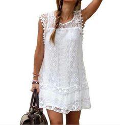 Summer Fashion Women Dress Sexy Sleeveless Hollow Lace Dress Mini Dress Beach Dress Vest Dress Vestidos Femininos