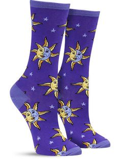 Celestial Moon & Sun Unique Novelty Socks for Women, Blue
