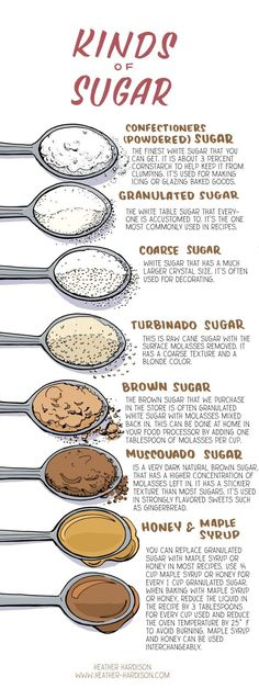Types Of Sugar This chart from Illustrated Bites is super useful if you're curious about all the types of sugar you'll encounter when baking. Learn about muscovado sugar, which is used in most gingerbread recipes, and maple syrup, which can be used as a replacement for granulated sugar.