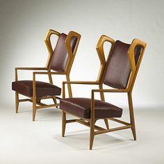 GIOPONTI  Triennale armchairs,pair  ISABergamo Italy, 1951 walnut, leather, brass