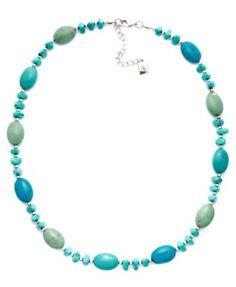 Lauren Ralph Lauren Reconstituted Turquoise Bead Necklace