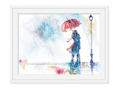 Established sign - sentimental gifts - love couple art - romantic wall art - couple in rain - watercolor art - anniversary date sign - Established sign – sentimental gifts – love couple art – romantic wall art – couple in rain - First Anniversary Gifts, Paper Anniversary, Anniversary Dates, Couple In Rain, Couple Art, Watercolor Portrait Painting, Watercolor Print, Standing In The Rain, Newlywed Gifts