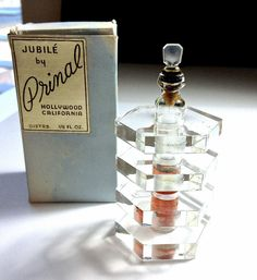 VINTAGE JUBILE' BY PRIMAL CALIF. HEXAGON SHAPE LUCITE MINI PERFUME BOTTLE W/ BOX