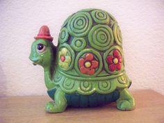 Vintage Ceramic Turtle Penny Bank