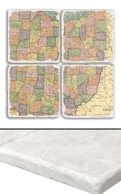 """Ohio Map Coaster Set    An impressive collection of marble coasters featuring a beautifully colored map of Ohio.   Each Ohio coaster measures 4"""" x 4"""", and is constructed of high quality, Botticino tumbled marble.  A perfect gift for weddings, anniversaries, business gifts and any other special event in your life.  Best of all, these Ohio coasters are artfully constructed in the USA!     Botticino Tumbled Marble  Each Tile Measures 4""""x4"""""""