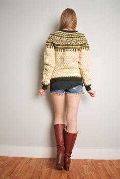 cream olive wool Nordic cardigan sweater by huncamuncavintage Sweater Cardigan, Jumper, Top Vintage, Wool, Cream, Knitting, Sleeves, Sweaters, Etsy