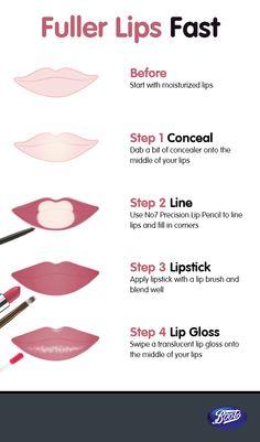 Fuller lips are just four steps away. - Quick Tips & How To - Fuller lips are just four steps away. Lip Makeup Tutorial, Makeup Tutorial For Beginners, Lipstick Tutorial, Lip Tutorial, How To Apply Lipstick, How To Apply Makeup, Order Of Applying Makeup, Contour Makeup, Skin Makeup