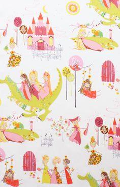 Once Upon a Time AH Fabric Princess Kingdom Fairy Tale Castle Dragon on Cream