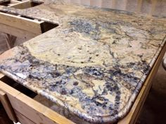 Azuritti Granite top in our shop! This granite gets its name from the blue mineral Azurite. #Granite #Slab #Countertop #Fabricator