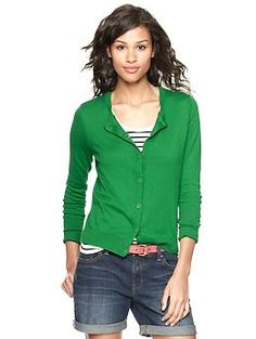 Luxlight crew cardigan | Gap - love this green!