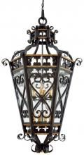 Minka Metropolitan N6116-20 - French Black W/gold Highlights Moire Glass Open Frame Foyer Hall Fixture