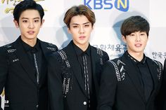 Chanyeol <3 Sehun <3 Suho <3 - 141117 2014 Republic of Korea Pop Culture Art Awards Ceremony