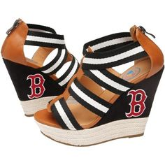 Cuce Shoes Boston Red Sox Ladies Rookie 2 Sandals - Black/Brown, I want these !!!!
