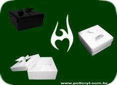 Caixas feitas de acrílico com asas moldadas.  Boxes produced in acrylic with molded wings.