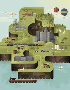 Creative Illustration, City, Map, Le, and Duo image ideas & inspiration on Designspiration Creative Illustration, Landscape Illustration, Flat Illustration, Map Design, Travel Design, Branding Design, City Maps, Busa, Motion Design