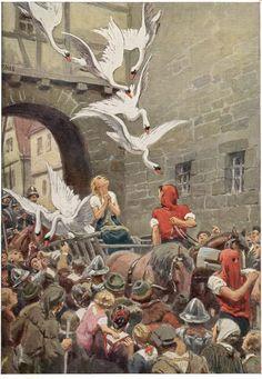 """The Wild Swans"" A Hans Christian Andersen Fairy Tale German Fairy Tales, Illustrator, Hans Christian, Fable, Fairytale Art, Art Graphique, Children's Book Illustration, Book Illustrations, Botanical Illustration"