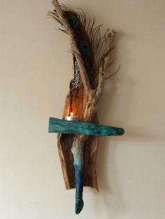 Driftwood Sconce Candle Holder Tea Lighter by DriftwoodArtDesigner, £28.00
