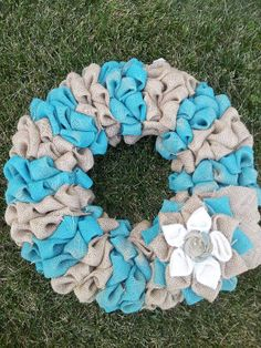 Hey, I found this really awesome Etsy listing at https://www.etsy.com/listing/158879930/burlap-bubble-wreath18-inchturquoise-and