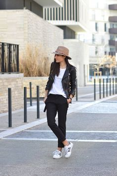 blogueuse mode pantalon habillé baskets adidas superstar pas cher perfecto tendance mode 2016
