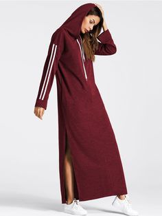 Shop Tape Detail Slit Side Marled Hoodie Dress online. SheIn offers Tape Detail Slit Side Marled Hoodie Dress & more to fit your fashionable needs.