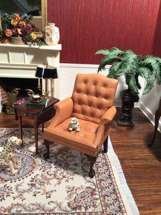 Dollhouse Miniature Artisan Signed Gail Steffey Leather Chair