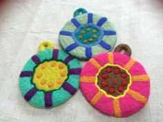Sunshine Color patterned Felt coasters  by BeansandThreads on Etsy