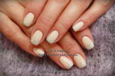 Gelish Neutral Glitter Ombre nails by www.funkyfingersfactory.com