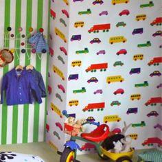 Kinder behang / Wallpaper Marimekko patroon Bo Boo bij emma b winkel Utrecht