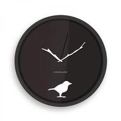 Wanduhr Vogel 'Early Bird' mit Astzeiger - Kikkerland #black #white #clock #bird #branch #limb