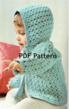 Toddler Popcorn Crochet Hoodie Sweater Pattern Vintage 1971