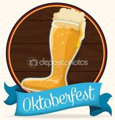 Wooden Button with Beer Boot for Oktoberfest Celebration, Vector Illustration — Stock Illustration Beer Boot, Blue Ribbon, Celebration, Button, Boots, Tableware, Illustration, Holiday, Fun