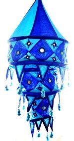 Yapree Handmade Fabric Hanging Lantern 3-Tier  :  Dark Blue and Light Blue