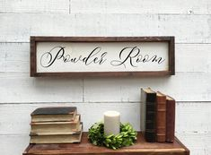 Excited to share this item from my shop: Powder Room, framed wood sign Pantry Sign, Lets Stay Home, Wood Wedding Signs, Rustic Chair, Table Signs, Home Decor Signs, Sweetheart Table, Wedding In The Woods, Wood Planks