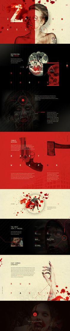 Diseño web para los frikis de los zombies. Muy oscuro