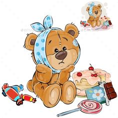 Buy Vector Illustration of a Brown Teddy Bear Sweet by vectorpocket on GraphicRiver. Vector illustration of a brown teddy bear sweet tooth ate a lot of sweets and now he has a toothache.