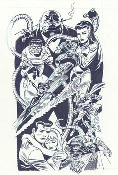 Spider-Man Family by Bruce Timm Comic Book Pages, Comic Book Artists, Comic Artist, Comic Books Art, Bruce Timm, Cultura Nerd, Marvel Comic Universe, Ms Marvel, Captain Marvel
