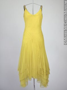 Gorgeous yellow~Dress - - McCord Museum~ Women's vintage fashion history clothing outfit for summer 1930s Fashion, Retro Fashion, Vintage Fashion, Vintage Outfits, Vintage Gowns, Vintage Clothing, Moda Vintage, Vintage Mode, Vintage Style