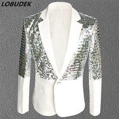 Nightclub Bar Male singer Rock DJ costumes White sequins Tide Men s Suit  Jackets Prom Party Host 73e69d3616f6