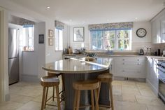 a light airy kitchen, made perfect with these floral blinds, Kitchen Blinds, Curtains, Floral, Table, Pattern, Furniture, Home Decor, Curtains For Kitchen, Blinds