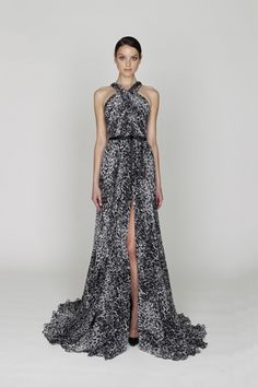 Monique Lhuillier Pre-Fall 2012  Black/White printed chiffon rushed bodice gown with front center split.