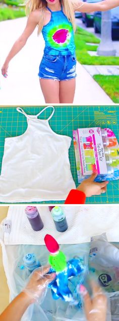 Tie Dyed T-Shirts | 15 DIY Summer Clothes for Teens Tumblr | Easy Summer Fashion Ideas for Women to Make