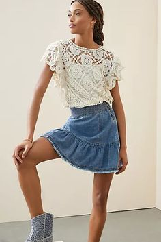 New Clothing for Women | Anthropologie Cute Skirts, Mini Skirts, New Outfits, Cool Outfits, 50 Fashion, Denim Skirt, Tie Dye, Boho, Anthropologie