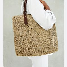 Straw Bag Tote Straw Tote BagBeach Bag by MOOSSHOP on Etsy, $39.95