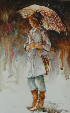 rebecca kincaide. Little girl with her dog on a rainy ...