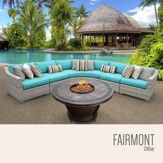 FAIRMONT-06e-ARUBA Fairmont 6 Piece Outdoor Wicker Patio Furniture Set 06e with 2 Covers: Beige and Aruba