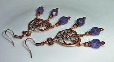 Copper Bohemien Earrings Purple Chandelier by JewelrybyJacobe