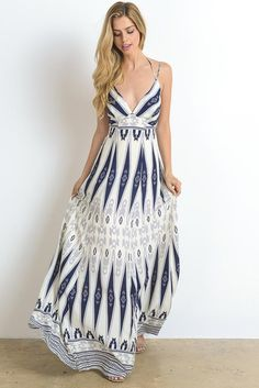 Tribal Blue Maxi Dress