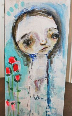 raw primitive face TRUE SELF mixed media 6x12 by mindylacefield