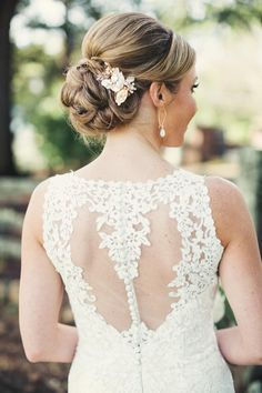 Elegant bridal up-do, pearl hair brooch, formal, sophisticated wedding hair ideas // Anne Claire Brun Photography